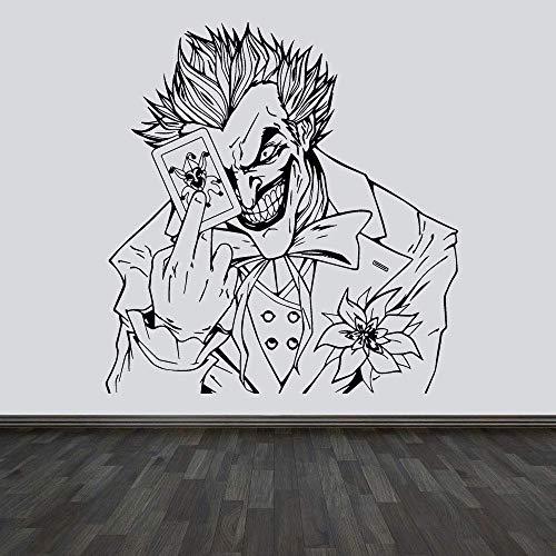 Die Jokerkarte Verrücktes Grinsen Spielzimmer Wandkunst Aufkleber Zimmer Aufkleber Vinyl Home Decor Wandbild Filmplakat Abnehmbar 57X60Cm