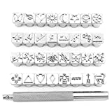 Yuhtech Metal Stamps Punch Set, 32 Pcs Leather Craft Stamping Tools Multi Shape