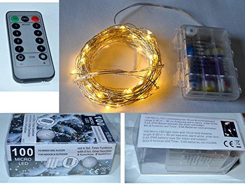 Markenlos Guirlande lumineuse 100 LED de 10,2 m de long avec télécommande - Fonctionnement à piles - Blanc chaud - Pour l'intérieur et l'extérieur
