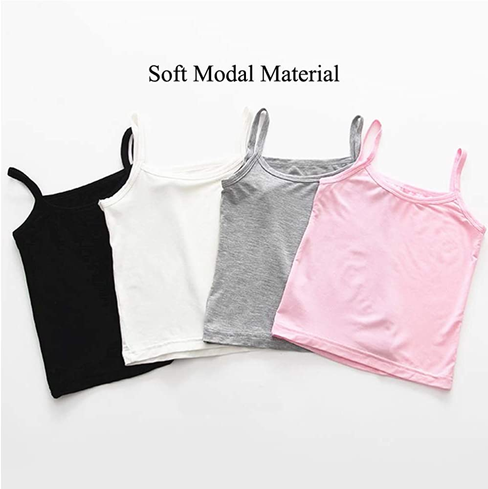 Nightaste Little Girls Soft Cotton Undershirt Toddler Kids 4-Pack Camisoles Tank Tops with Cute Prints Fits 2-7 Years