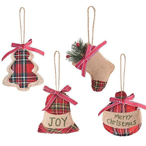 Aglife 12 Pcs Christmas Tree Ornaments, Christmas Tree Decorations, Christmas Stocking, Ball, Tree, Bell Holiday Party Decor