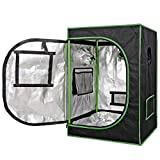 HANGKAI Indoor Grow Tent Hydroponic Plant Growing Room,24'x24'x36' Reflective Thick Mylar Fabric Grow Room Box for Plant,Black