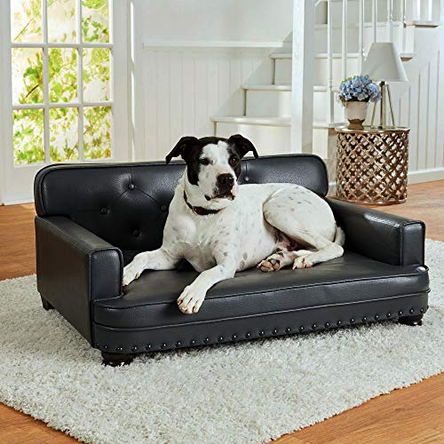 Pet Bed. Soft Cushion, Lounge Pad. Best for Medium & Small Size Dog, Indoor Bedding Furniture. Noble, Modern Classic Style, Rectangle, Elevated, Comfortable Couch from Faux Leather (Gray)