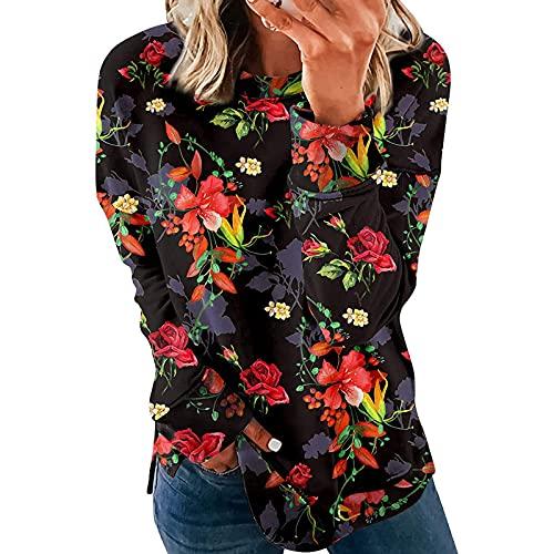 Kookmean Camisa de manga larga para mujeres, mujeres Tie Dye sudaderas vintage moda floral manga larga invierno otoño Tops camisa Blusas, Negro, XL