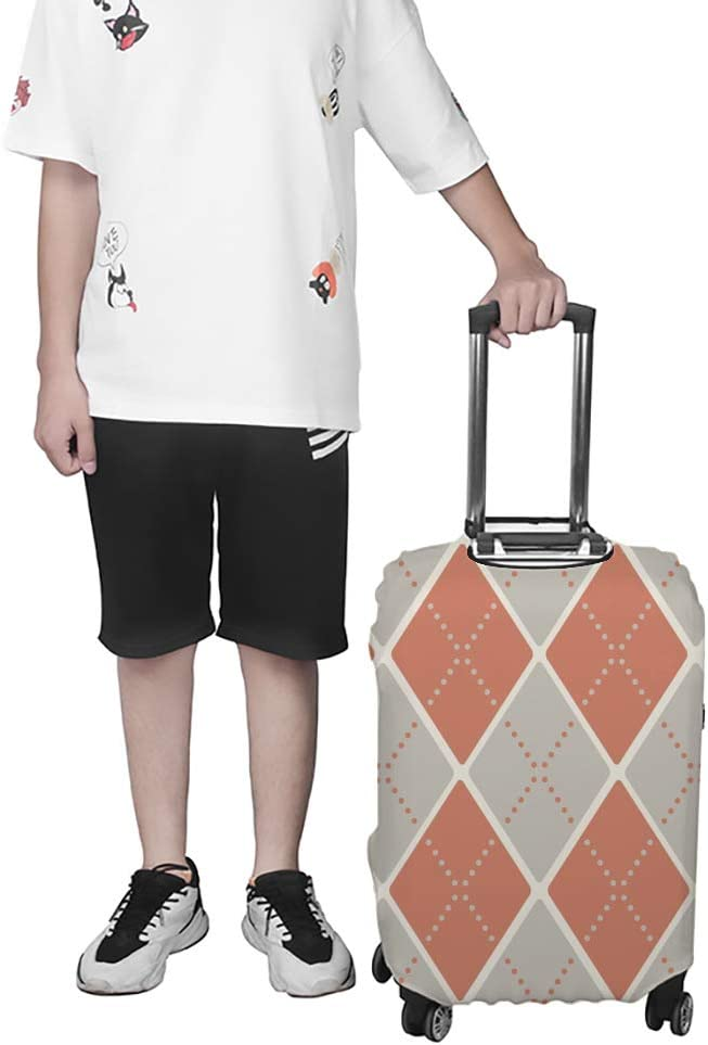 ZHONGJI Luggage Cover Thickened Washable Orange Grey Retro Pattern Polyester Fibe Elastic Foldable Lightweight Travel Suitcase Protector Fits 26-28 Inch