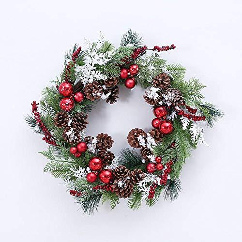 Topashe Hoja de Arce Calabaza Berry Guirnalda,Corona de decoración navideña, Colgante de Guirnalda de piña-Dorado,Corona de Navidad con iluminación
