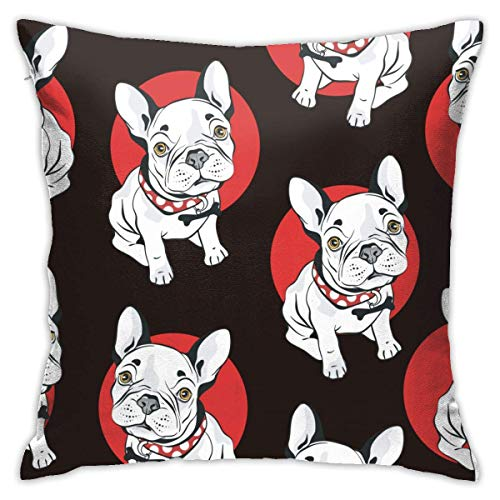 Moily Fayshow French Bull Dog With Red Circle Pillowcase 40 X 40 Cm Home Decoration