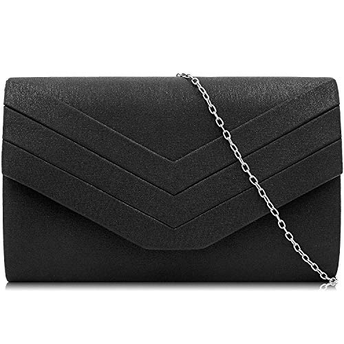 Milisente Evening Bag for Women, PU Leather Envelope Evening Purses Crossbody Shoulder Clutch Bag (PU Black)