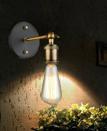 5151BuyWorld Loft Scone wandlamp, E27, Amerikaans, retro, vintage, metaal, 110 V - 220 V, antiek, industrieel