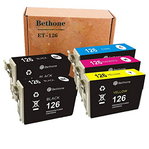 Bethone Remanufactured Ink Cartridges Replacement for Epson 126 T126 to use with Workforce 545 845 630 645 840 633 635 520 WF-3520 WF-3540 Stylus NX430, 5 Pack Delaware
