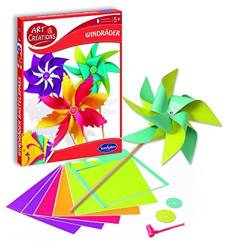 Sentosphere 20400 Bastelset für Kinder, Windräder Bastelspaß, Papier Kreativset, DIY