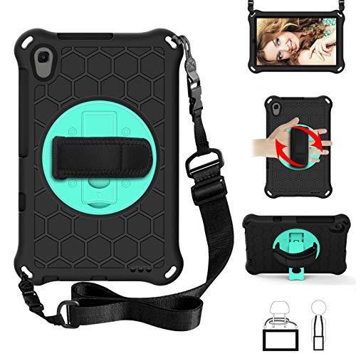 Case for Huawei MediaPad M6 Turbo 8.4' 2020(VRD-AL10/VRD-W10),EC-Touch Smart Shockproof Impact-Resistant Silicone EVA Rotating Stand Cover Case with Hand Strap,Shoulder Strap (Black+Aqua)