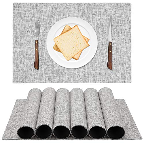 ALPIRIRAL Framhouse Placemats for Dining Table Set of 6, Waterproof Placemats Wipeable Kitchen Heat Resistant Table Placemats Protect The Table from Mess , Fabric Imitation Hemp