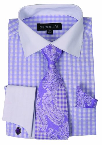 George's Small Check Fashion Shirt with Matching Tie, Handkerchief and French Cuffs 17-17 1/2-34-35 Levender Lavender