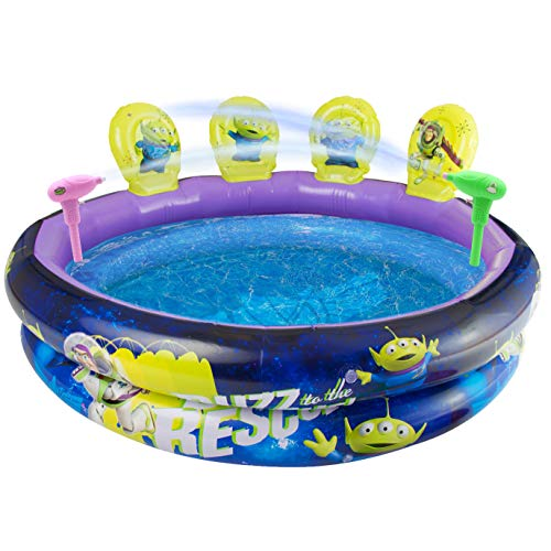 Disney Toy Story 4 Inflatable Swimming Pool | Outdoor Paddling Pool With Target Shooting Activity, Includes 2 Buzz Lightyear Water Guns, 4 Alien Fun 3D Targets | Kids Swimming Pools For Gardens