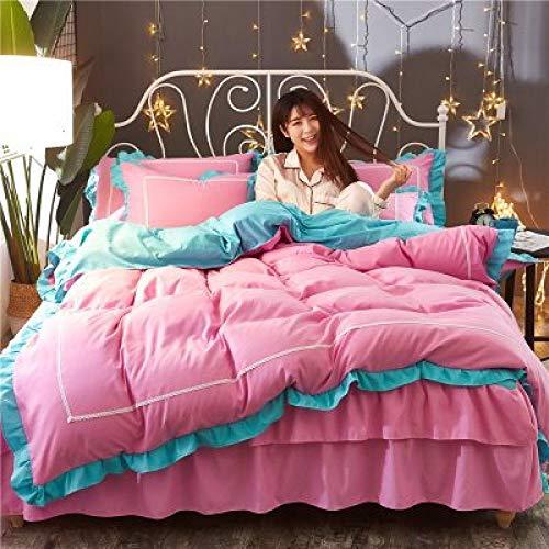 yaonuli geborduurde 4-delige set van een elegant 1,8 m breed bed voor meisjes met dekbedovertrek