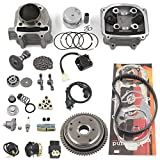 Complete GY6 Cylinder Head Rebuild Kits with valves, Trkimal 57.4mm 150cc Big Bore Upgrade Kits for 4 stroke 157QMJ Engines Chinese scooter moped parts, GY6 Engine parts Sunl Roketa Peace JCL