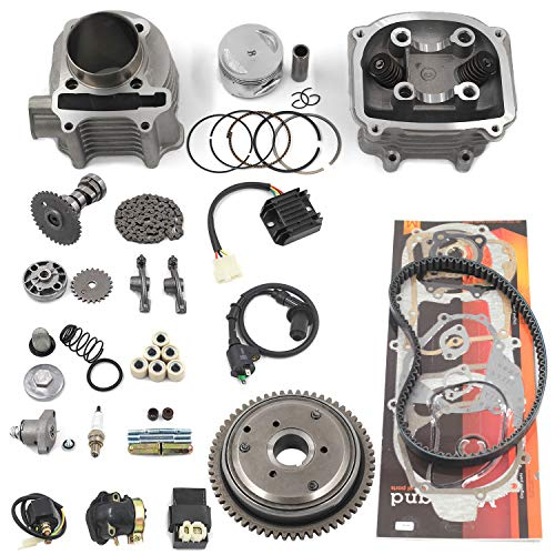 Complete GY6 Cylinder Head Rebuild Kits with valves, Trkimal 57.4mm 150cc Big Bore Upgrade Kits for 4 stroke 157QMJ Engines Chinese scooter moped parts, GY6 Engine parts Sunl Roketa Peace