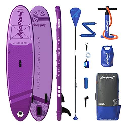 AQUAPLANET ALLROUND Kit inicial completo para SUP (Tabla de 3 m x 76 cm). Incluye bomba de aire, pala de aluminio, mochila, correa para la pierna, bolsa de surf, correa para el hombro y más (púrpura)