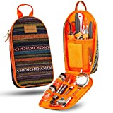 11 Piece Camp Kitchen Cooking Utensil Set Travel Organizer Grill Accessories Portable Compact Gear for Backpacking BBQ Camping Hiking Travel Cookware Kit Water Resistant Case (Orange)