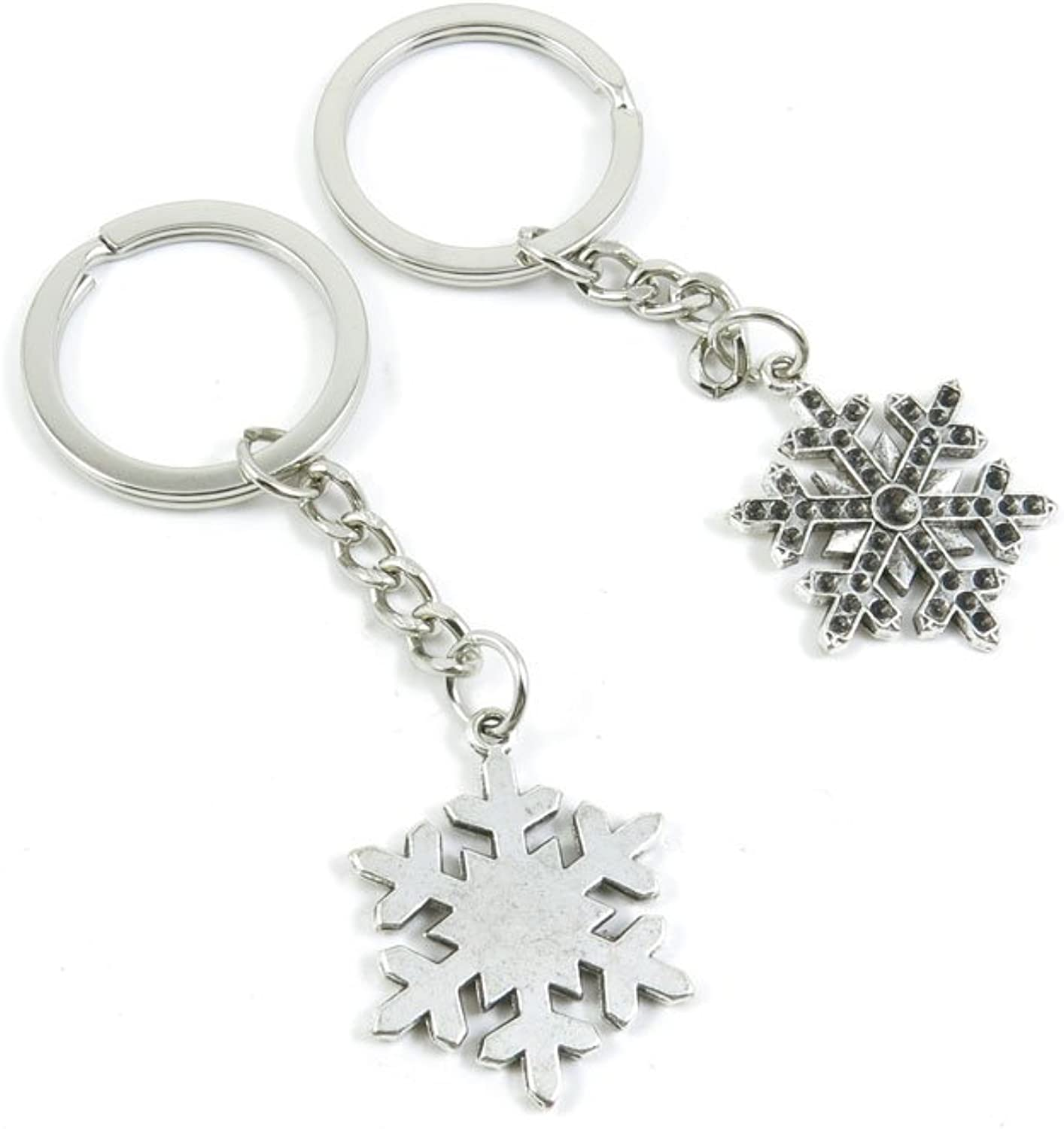 100 Pieces Keychain Keyring Door Car Key Chain Ring Tag Charms Bulk Supply Jewelry Making Clasp Findings I2ZX1S Snow Flake Snowflake