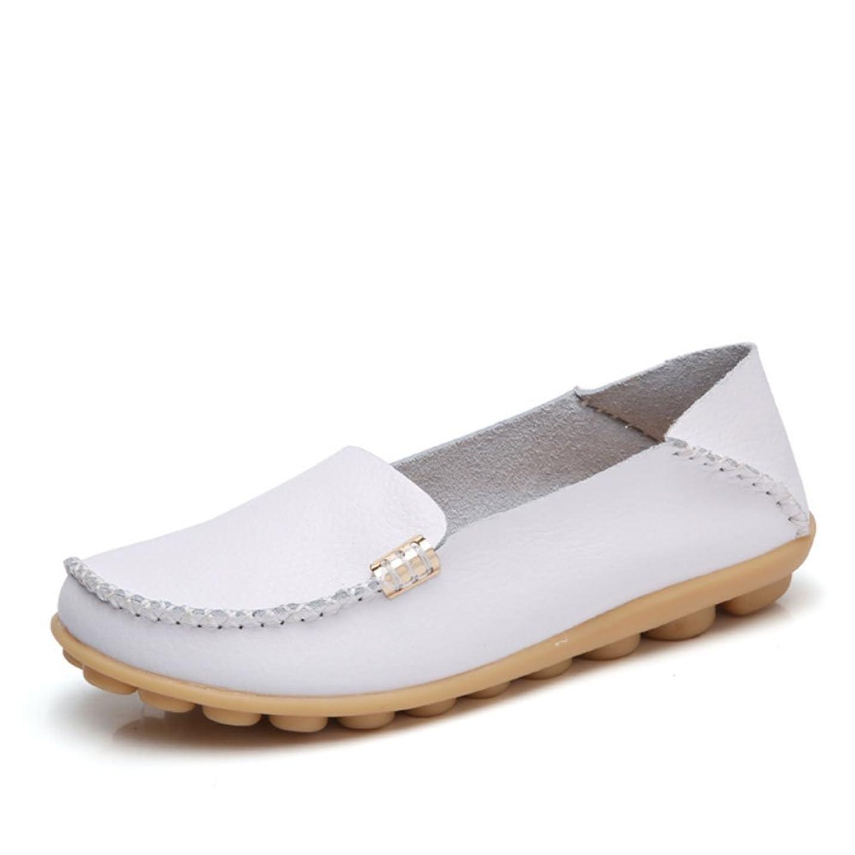 全能振り返る統治する[Daclay] ダクレ モカシンシューズ レディースシューズ ママの靴 白い 靴 レザー スリッポン ローファー カジュアル 滑り止め ナース シューズ シューズ 滑り止め 男女兼用