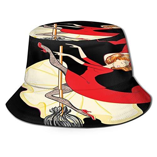 fudin Sombrero de Pescador Unisex Hermosa Bruja Montando una Escoba ilustración Vectorial...