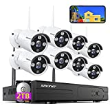 【2021 NEW】SMONET Security Camera System Wireless,8CH Full HD 1080P Home CCTV Surveillance Systems, 8pcs 2.0MP Indoor Outdoor Indoor Waterproof IP Cameras, Night Vision, Easy Remote View,2TB Hard Drive