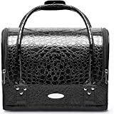 Makeup Train Cosmetic Case Small Portable 2-Layer Double Open Fashion Organizer Bag with Detachable Shoulder Strap and Travel Box Crocodile Leather Texture Design Black