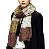 Yuson Girl Bufanda Punto Hombre Mujer la Tela Escocesa Cozy Lana Abrigo Del Mantón Cuello Bufanda Regalos Para Hombre Mujer (Amarillo)