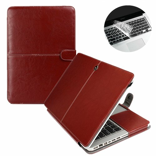 Se7enline Premium Quality Brown PU Leather Book Cover Clip On Case for Apple 13 inch MacBook Pro Model A1278, with Transparent Keyboard Cover