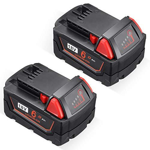 Upgraded 6000mAh 18V Li-ion Replace Battery Compatible for Milwaukee M18 M18B XC 48-11-1850 48-11-1815 48-11-1820 48-11-1852 48-11-1828 48-11-1822 48-11-1811 48-11-1840 Cordless Tool Batteries(2-pack)
