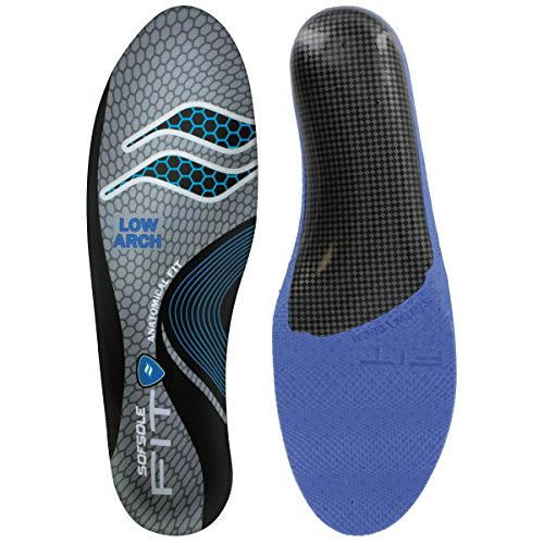 Sof Sole Women's Low Arch Unisex FIT Support Insoles, Grey, Women's 7-8