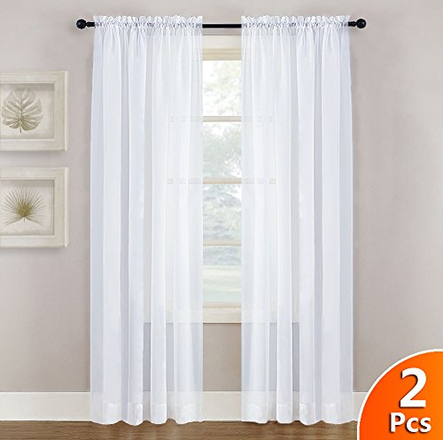 NICETOWN White Sheer Curtains Panels 84 Window Treatment Rod Pocket Sheer Voile Drapes/Yarn for Bedroom One Pair W55 x L84 White