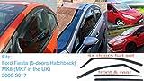4x Deflectores de Aire para Ford Fiesta 2008 - 2017 MK6 (MK7 en el Reino Unido) 5 puertas Hatchback Derivabrisas ajuste interior protección sol lluvia nieve viento