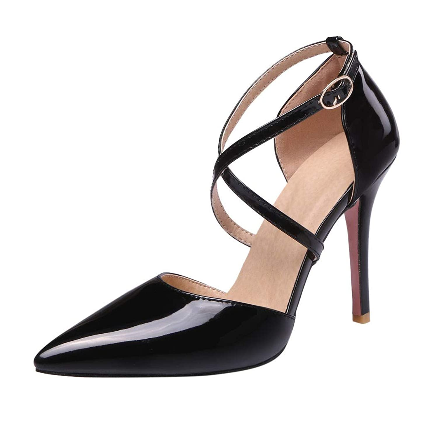 Claystyle Womens Closed Toe High Heel Dress Party Pump Sandals Cross Straps Pointed Casual Shoes