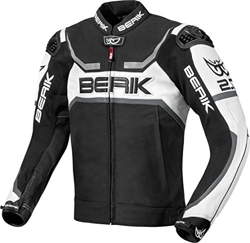 Berik Supermatic Motorrad-Lederjacke (grau, UK 48 EU 58)