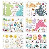 LIHAO 12 fogli Adesivi Pasquali Autoadesivi Stickers Modelli Uova Coniglio per Bambini Fai...
