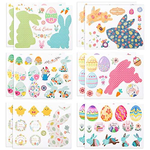 LIHAO 12 Feuilles Autocollants Pâques Gommettes Stickers DIY Enfants Motifs Œuf Lapin pour Décoration de Pâques