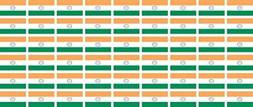 Mini Aufkleber Set - Pack glatt - 20x12mm - Sticker - Fahne - Indien - Flagge - Banner - Standarte fürs Auto, Büro, zu Hause & die Schule - 54 Stück