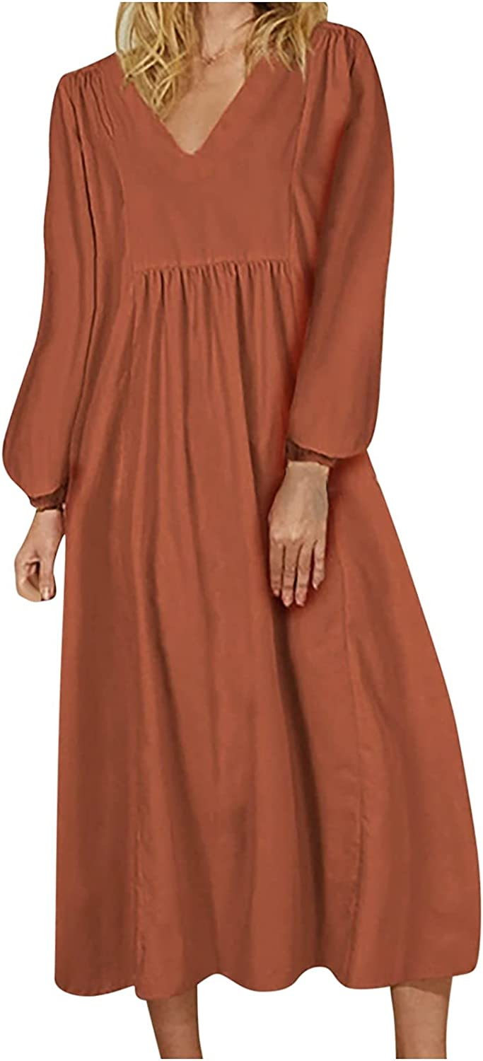 Womens Dresses Casual Long Sleeve Beach Sundress Trendy Solid Cocktail Dress V Neck Maxi Skirt Swing Flowy Long Gowns