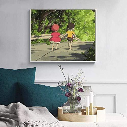 JHGJHK Película de Dibujos Animados Anime japonés Hayao Miyazaki Goldfish película Manga decoración de la habitación Familiar Pintura (Imagen 1)