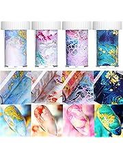 Láminas de transferencia para decoración de uñas, diseño de mármol, 4 cajas