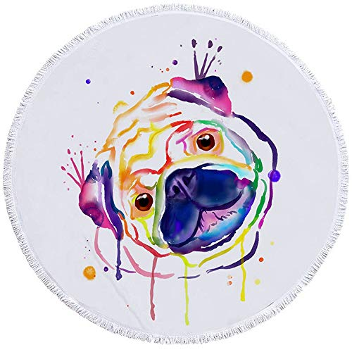 ZHOUBIN Microfibra Toallas de Playa Redondo Borla Toalla Bulldog Pug Navidad Perro para Niños Adulto Halloween Cachorro Playa Mat 150 * 150CM