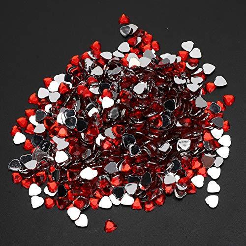 Aoutecen Diamantes de imitación de Espalda Plana Diamante acrílico Fuerte Resistente Multifuncional Aspecto único Tarjeta del día de San Valentín Decoración Álbum de Recortes para Manualidades(Red)