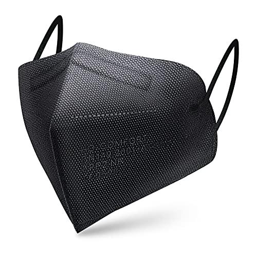 SOYES 20x FFP2 Maske CE Zertifiziert schwarz - 5-Lagen hygienische Einzelnverpackung Atemschutzmaske