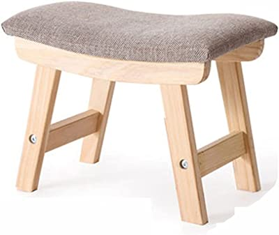 Footstool Footrest Small Foot Stool, Cotton Linen Footrest Ottoman Stool with Non-Skid Legs, Footstools Small Stool Ottoman for Living Room (Color : B)