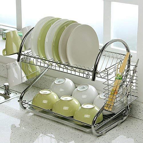 7Ocean 2 Layer S Shape Stainless Steel Kitchen Dish Drainer Storage Rack Holder Glass, Plate, Fruits and Vegetable Utensils Storage Organizer