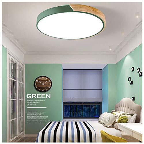 AXIANQILight Plafonnier Trois Tons Lumière Simple Macarons Acrylique Bois Mince Lampe De Plafond Ronde LED Salon Chambre Maison 60cm (Color : Green, Wattage : 220v)