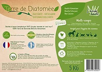l'herbe Haute ® Terre de Diatomée Blanche Alimentaire - 5 kg Seau - Utilisable en Agriculture Biologique - Origine Naturelle sans Transformation Chimique - Nombreux usages